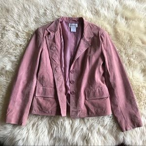 Dusty Rose Pink Suede Leather Jacket size 12